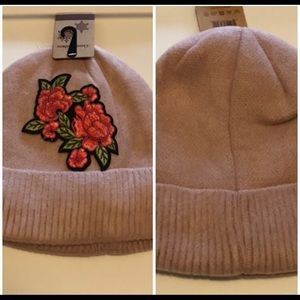 NWT Pink Rose Patch Knitted Beanie Hats